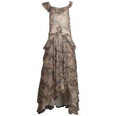 John Galliano floral silk chiffon evening dress, circa 1990s
