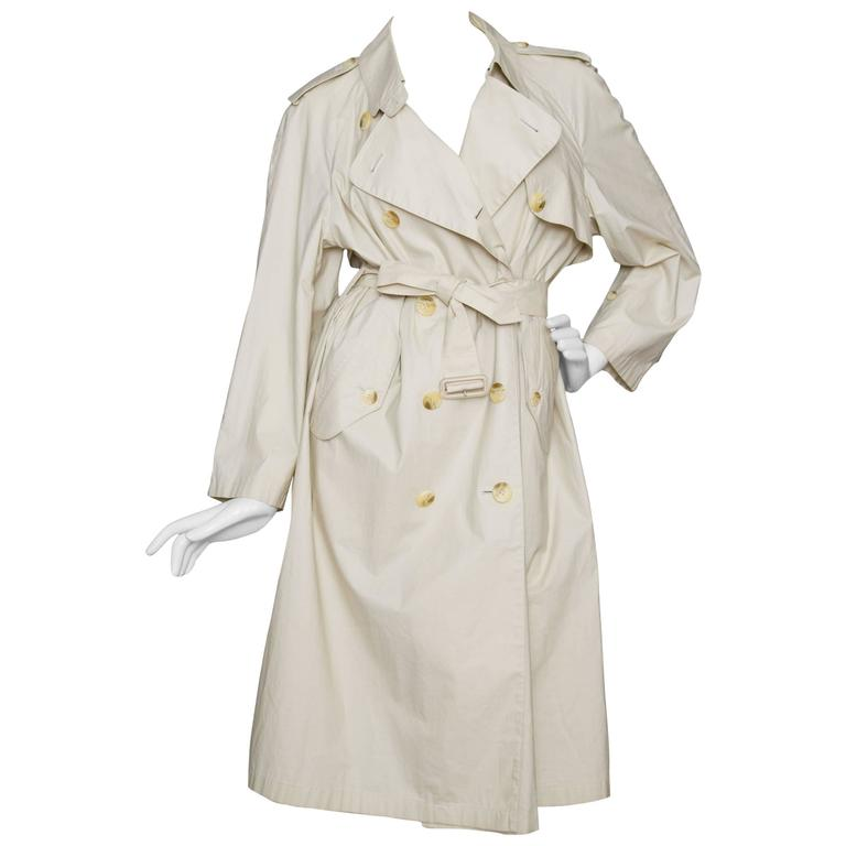 80s Burberry Off-white Cotton Double Breasted Trench Coat For Sale