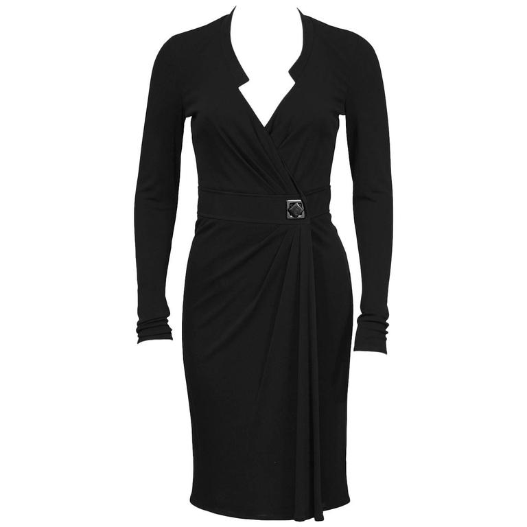 1990's Verace Black Jersey Wrap Dress
