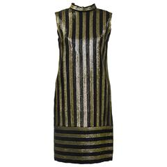 1960's Anonymous Gold and Black Sequin Striped Evening Shift Dress