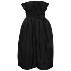 1960's French Couture Black Taffeta Pouf Cocktail Dress