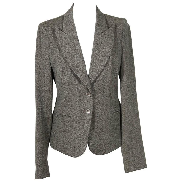 BALENCIAGA Gray Fleece Wool BLAZER Jacket Sz 38 IT