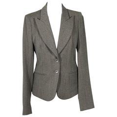 BALENCIAGA Gray Fleece Wool BLAZER Jacket Sz 38 IT