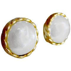 Vintage Chanel 1984 Faux Baroque Pearl Button Earrings