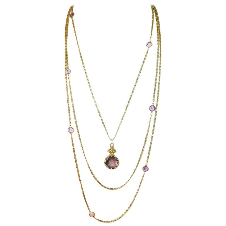 Vintage 1960s Signed 3-Strand Goldette Necklace For Sale