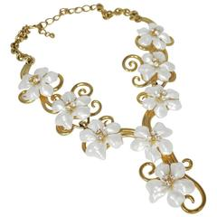 Kenneth Jay Lane Swirling Faux Pearl & Crystals Drop Necklace