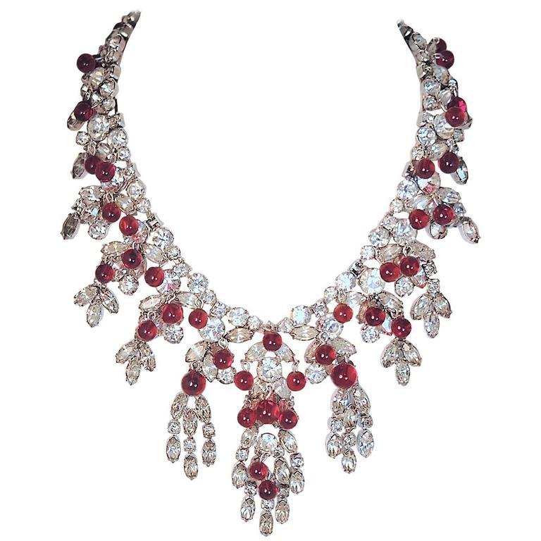 1f368e161106c Vintage 1950s Signed Kramer Ruby Cabochon & Crystals Drop Necklace