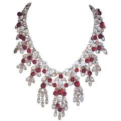 Vintage 1950s Signed Kramer Ruby Cabochon & Crystals Drop Necklace