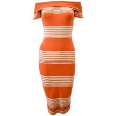 Alaïa Orange and White Stripe Stretch Body Con Knitted Dress