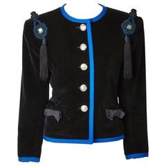 Yves Saint Laurent Corduroy Jacket with Tassels