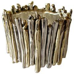 Unique David Varsano Wide Bracelet Silver + Gold Brutalist 1970s