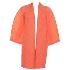 Issey Miyake Coral Yellow Colorblock Pleated Cocoon Jacket, Spring 1995