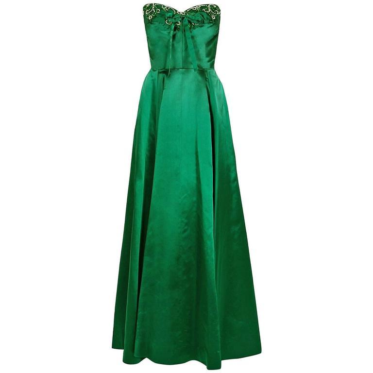 1950's Helga Emerald-Green Beaded Satin Strapless Bombshell Evening Formal Gown
