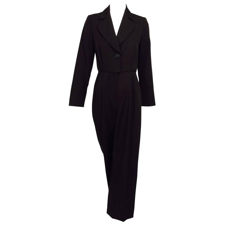 Vintage Yves St Laurent YSL brown wool tuxedo jumpsuit 1970s For Sale