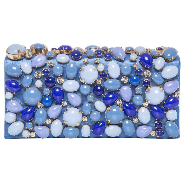 Prada Blue Satin Raso Pietre Clutch, Spring - Summer 2011 For Sale