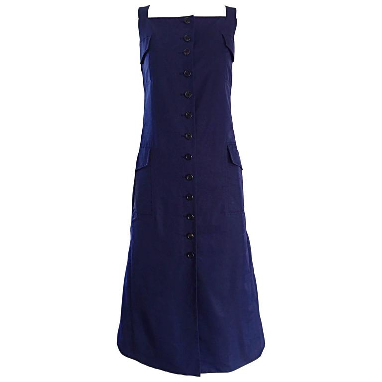 Rare 1990s Marc Jacobs Navy Blue Avant Garde Vintage Parachute Shirt Cargo Dress