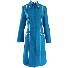 Max Nugas Haute Couture Vintage 1970s Cerulian Blue Silk Shantung Jacket Coat
