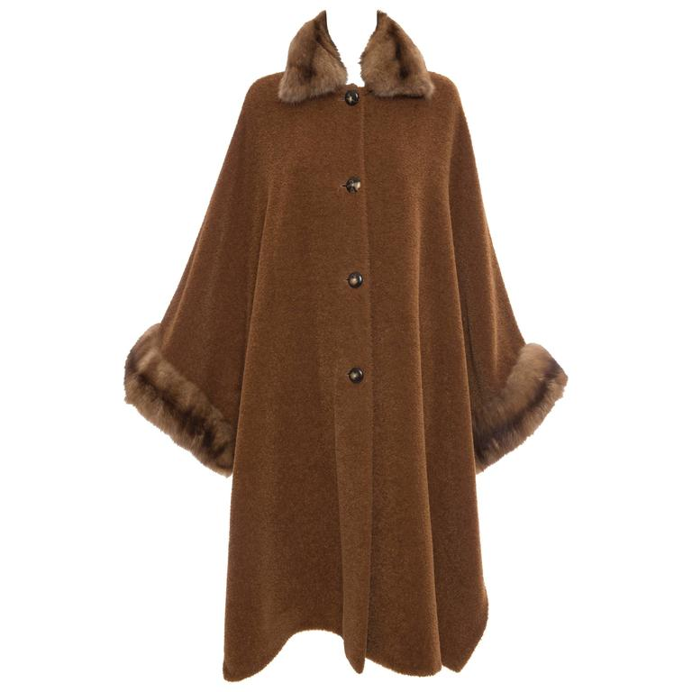 Revillon Alpaca Button Front Cloak - Cape With Sable Trim, Late 20th Century 1