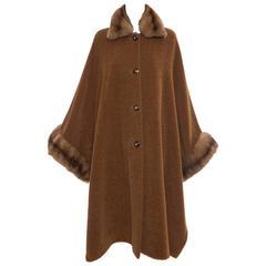Revillon Alpaca Button Front Cloak - Cape With Sable Trim, Late 20th Century