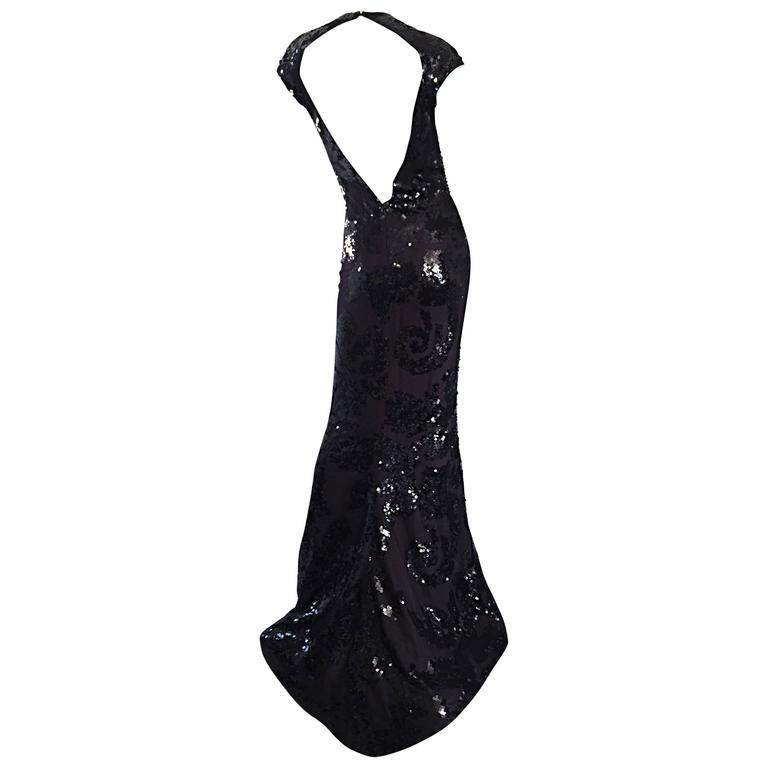 Halston Vintage Open Back Black Silk Sequin Gown Dress For Sale at ...