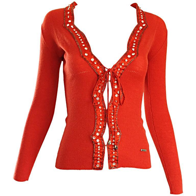 Roberto Cavalli 1990s Burnt Orange Rhinestone + Beaded Vintage Knit Cardigan Top
