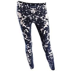 Rare Alexander McQueen ' Pussycat Crotch ' Tie Dye Leopard Wool Leggings Pants