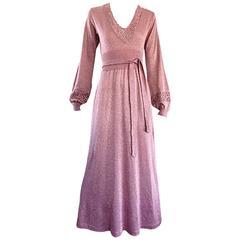 Beautiful 1970s Pink Lurex Jersey Crochet Long Sleeve Belted Vintage Maxi Dress
