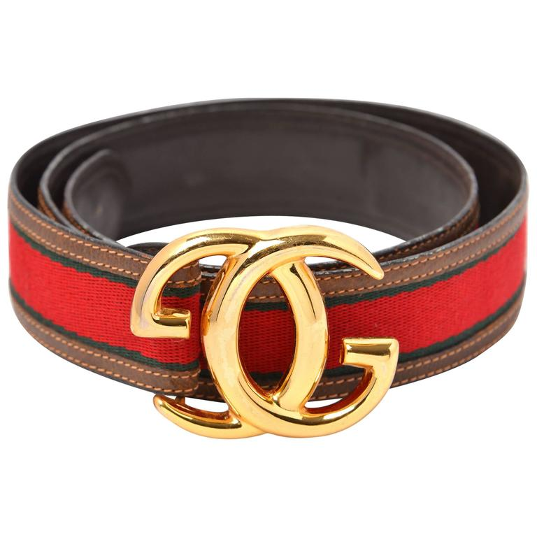 Vintage Gucci Leather and Canvas Belt with Gold-Tone Double G's For Sale