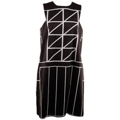 Galitzine Black and White Cotton Geometric Print Sleeveless Shift Dress Size 40