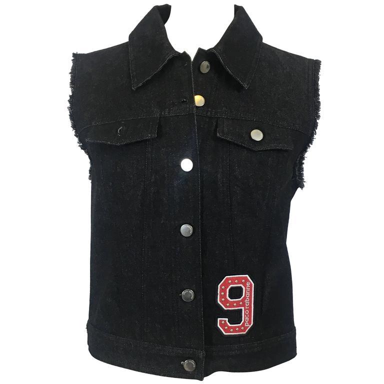 PACO RABANNE Denim Black Vest Jacket w/Silver Mesh Insert