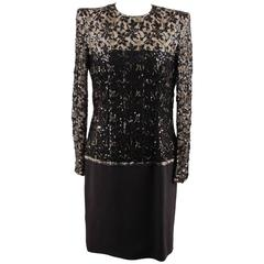 ANDRE LAUG Vintage Black Embellished LONG SLEEVE Evening DRESS