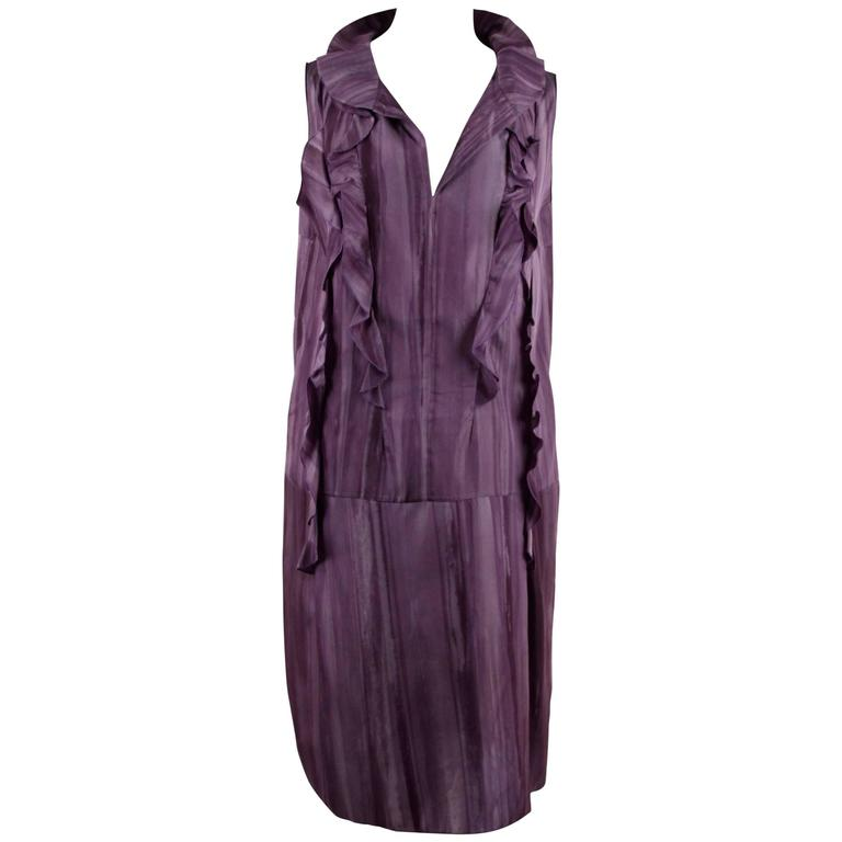 MARNI Purple Silky SLEEVELESS DRESS w/ RUFFLE Trim SIZE 42 RR
