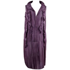 Marni Purple Silky Sleeveless Dress with Ruffles Size 42