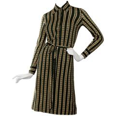 1970s Celine Green Chain Print belted Dress