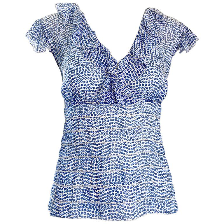 Vintage Oscar de la Renta Blue 'Sequin' Print Semi Sheer 90s Ruffle Blouse Top  1