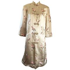 1960s Couture Asian Vintage Light Pale Gold Silk 60s Kimono Jacket w/ Flowers