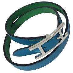 Hermes Wrap Leather Buckle Adjustable Bracelet