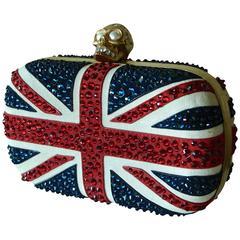 Alexander McQueen Britannia Union Jack Crystal Box Clutch + Dust Bag 2015