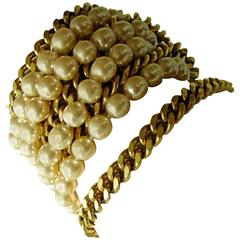 Chanel Pearl and Gold Chain Bracelet Rare Multi Strand, 1970s