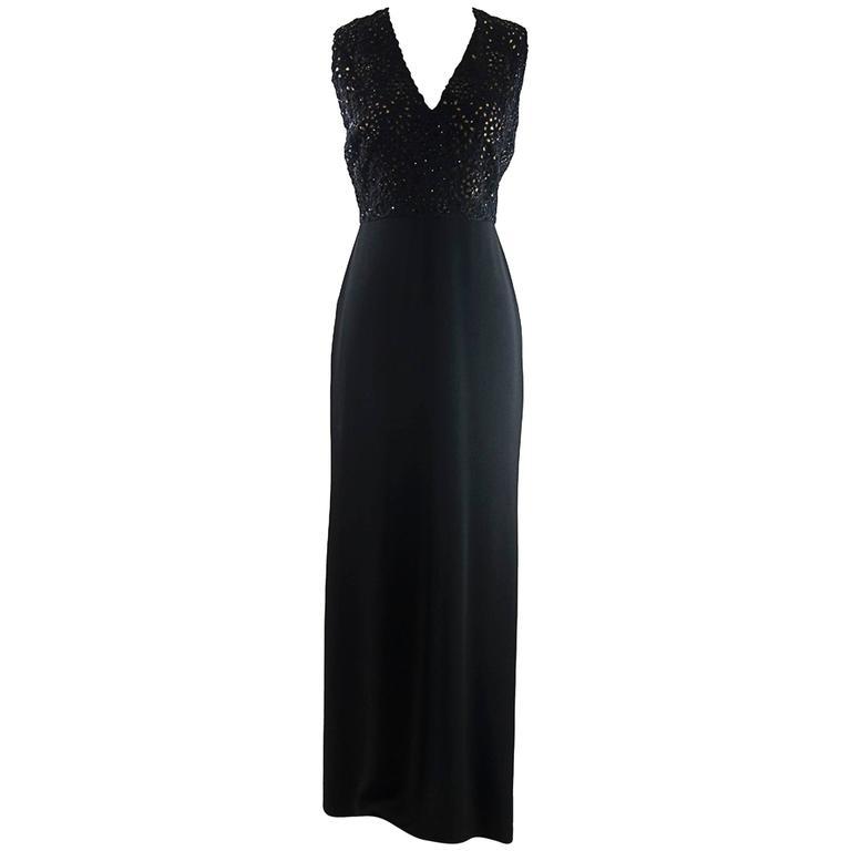Badgley Mischka Elegan Eyelet Beaded Evening Gown