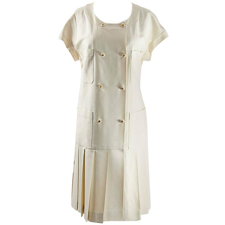 Chanel Creme Silk Pleated Dress