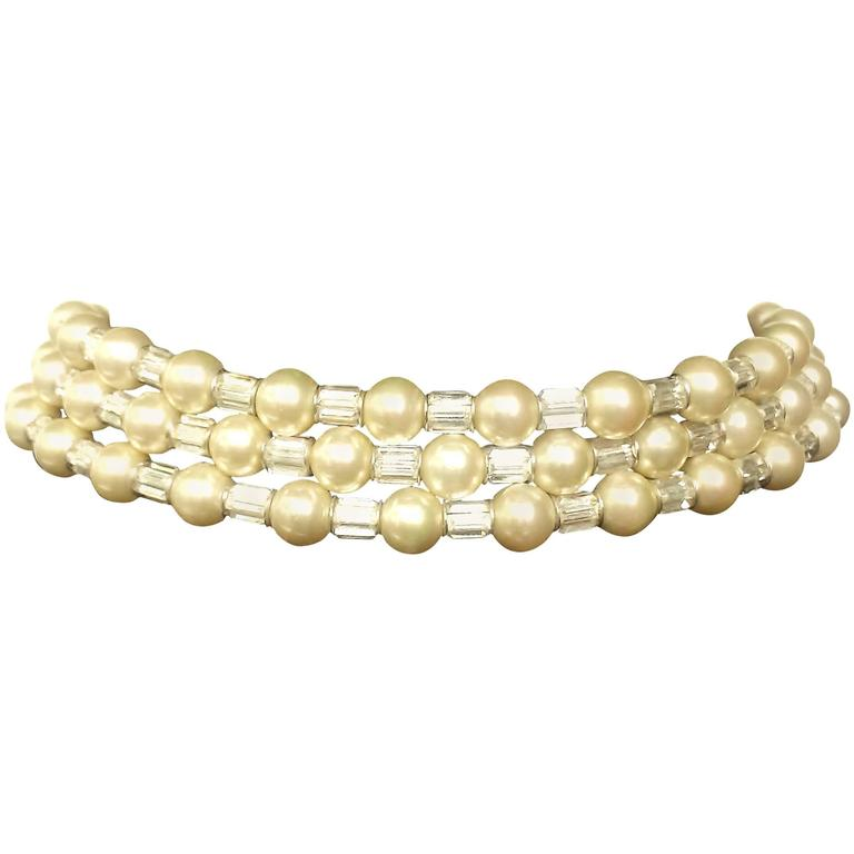 Iconic and utterly unique Trifari 'Mamie Eisenhower' pearl and paste choker, 195 1