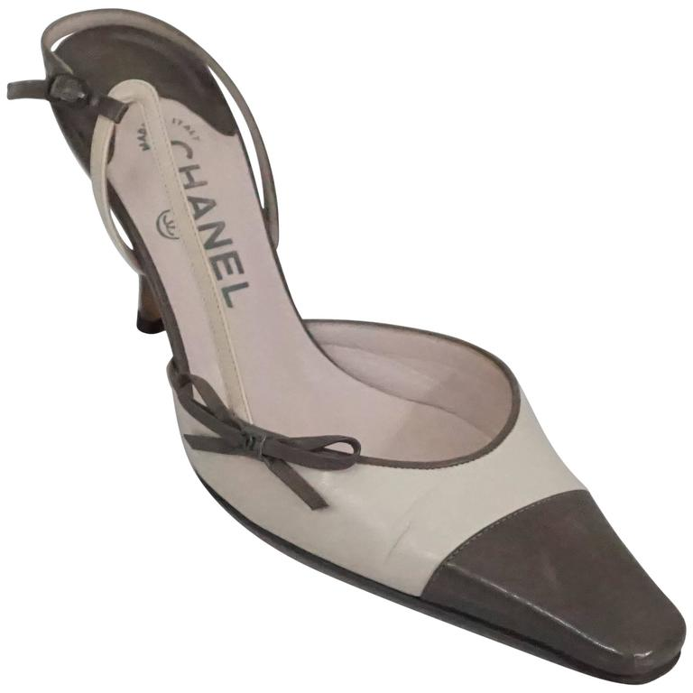 Chanel Creme and Taupe Slingback Heels - 37.5 1