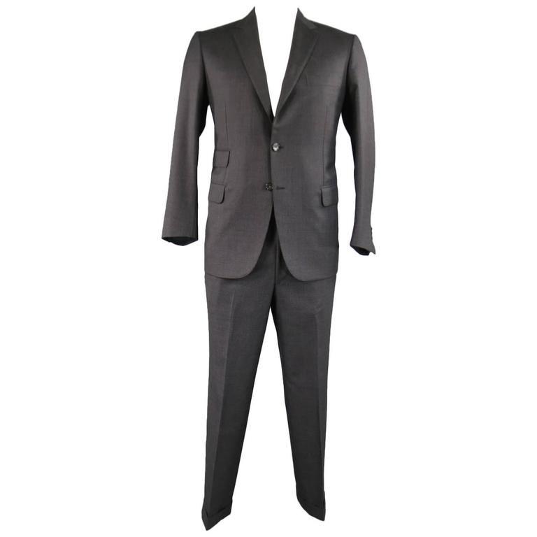 Men's BRIONI 40 Regular Charcoal Textured Wool Notch Lapel Suit
