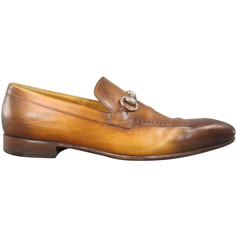 d95765836bd Men s GUCCI Size 9 Distressed Tan Brown Leather Horsebit Loafers For Sale. Classic  Men s GUCCI slip on loafers in unique multi tonal ...