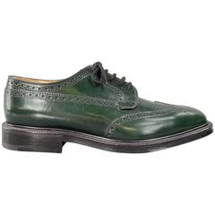 Men's CHURCH'S Size 8.5 Forest Green Shiny Leather Wingtip Brogue Lace Up