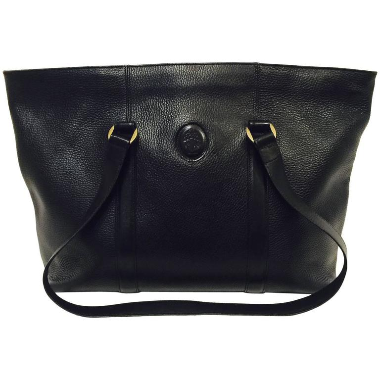 Magnificent Mark Cross Large Black Grained Leather Tote With Top Zipper