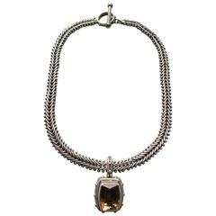 1980's Stephen Dweck Sterling Silver Fishtail Chain Necklace with Smokey Quartz