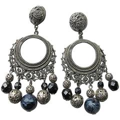 1978 Ben-Amun Silver Tone and Jet Black Faceted Crystal Drop Clip Earrings
