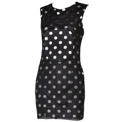 2012 Junya Watanabe Polkadot Bodycon Mini Dress With Mesh Overlay